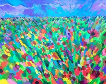 "Title: ""Flower Bomb"" - Original Acrylic on Canvas - 2 feet x 3 feet"