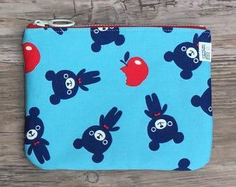 Bears Coin Purse Handmade Japanese Fabric Zipper Pouch Zippered Change Wallet Smartphone Case Gift Card Holder Stocking Stuffer