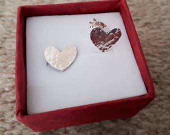 Sterling Silver Heart Stud Earrings - Hammered Texture