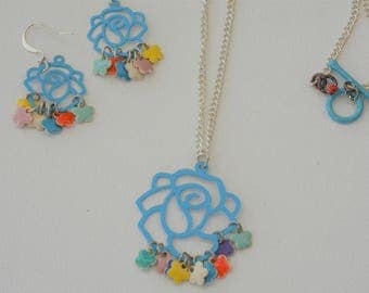 Blues Roses Necklace and Earrings Set