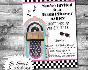 Bridal Invite, 50's Theme, Jukebox