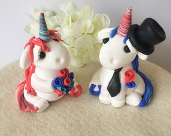 Clay Unicorn Bride and Groom Wedding Cake Topper- custom made