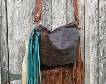 Embossed leather handbag with fringe and a touch of turquoise!!  Amazing!!!