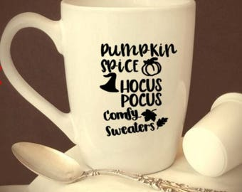 pumpkin/spice/hocus/pocus/sweater/weather/coffee/cup/mug/fall/basic/witch/leaves/pumpkins/gifts/halloween/