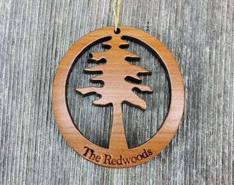 Wood Christmas Ornament Redwood Tree The Redwoods Oval California Redwoods Laser Cut Handmade Wood Ornament Made in USA