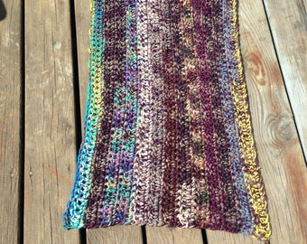 Scatter Rug Hand Crocheted Multi Colored Rectangle