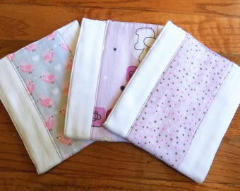 Set of 3 Burp Cloths - Baby Girl - Baby Shower Gift - 6 ply Premium Burp Cloths