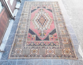 Free Shipping VINTAGE OUSHAK RUG  Vintage Rug Turkish Rug Oushak Runner Rug 7.5 x 4.4 feet  e:256
