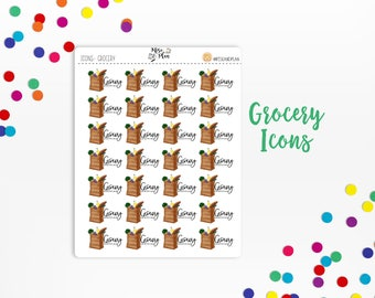 Planner Sticker Icons- Grocery Shopping Icons