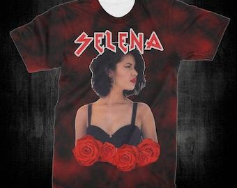 "T-Shirt - ""Selena"" Women - Men - Full Front Polyester Tee Sleeve - FAST SHIPPING"