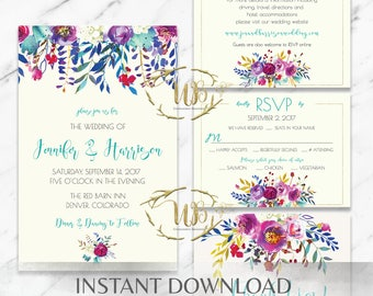 Floral|Blue|Teal|Whimsical|Printable Wedding Invitation Suite|Wedding Invitation|Printable Wedding|DIY Wedding|Watercolor|Purple|Pink|Yellow