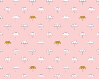 Riley Blake- When Skies Are Gray Pink Umbrellas- Cotton (not knit)