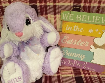 Lavender Personalized Embroidered Bunny