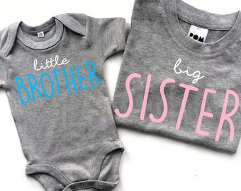 Big Sister T-shirt & Little Sibling Bodysuit Cute Matching Set - POM CLOTHING