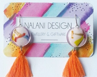 Colour Burst Tassel Earrings (Orange)