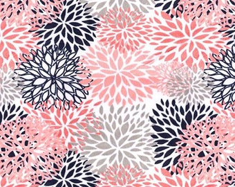 Minky Fabric by the Yard - Light Coral Navy Blooms Cuddle - (Shannon Fabrics - Premier Blooms Coral)