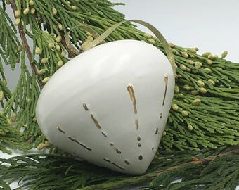 Satin white thrown ornament with gold line details