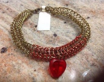 Braclet, Handcrafted, Viking weave, Brass & red wire