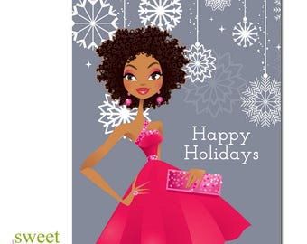 African American Christmas Card | African American Holiday Card | Black Girl Magic Christmas | Black Christmas Card | Boxed Set