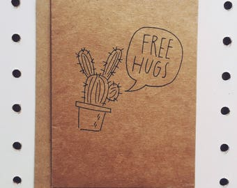 Cactus Free Hugs greeting card