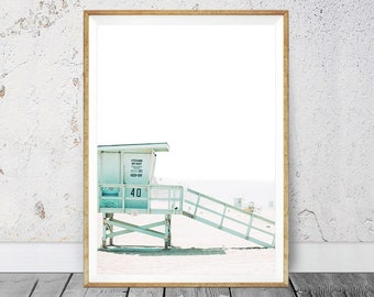 Lifeguard Tower Beach Life Summer Decor Prints Hut California