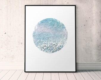 Pastel Blue Prints, Blue Coastal Poster, Beach Pebbles, Pastel Blue Wall Art, Minimalist Blue Printable, Circle Photo Print Download