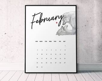 February 2018 Calendar Page with Wolf Couple, Desk Calendar Printable, February Printable, Woodland Theme, Download February Wall Calendar