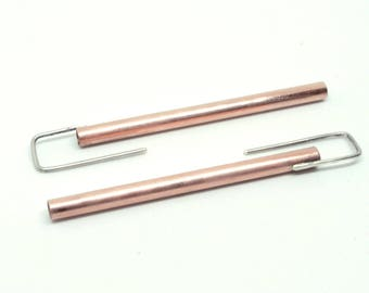 Copper tube earrings minimalist earrings, mixed metal earrings, Silver earrings, handmade in Berlin, designer jewelry