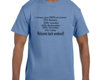 Funny Humor Tshirt I always give 100% At School model xx10156