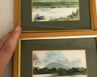 Irish Artist Noreen Moore - Set Original Hand Painted Watercolors or Watercolour - Ready to Hang! LOWERED PRICE!