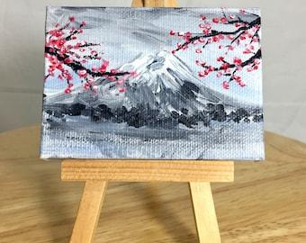 Mini Canvas Painting, Miniature Canvas Painting, Mini Canvas Art, Miniature Canvas Art, Cherry Blossom Painting, Japanese Painting