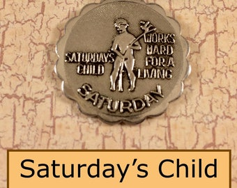 Vintage Sarah Coventry Saturday's Child Motto Silver Charm