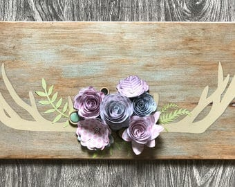 Bohemian Antler/Flower Wooden Wall Hanging