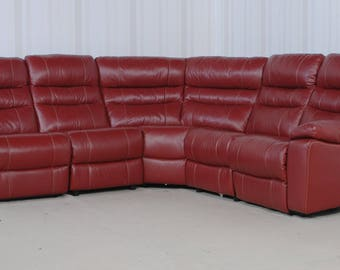 Designer Leather Red Sofa (273)
