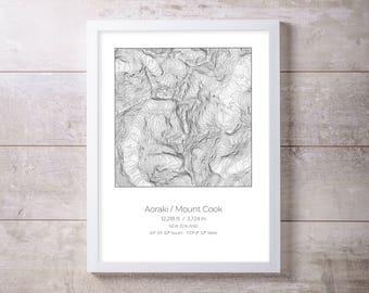Aoraki Mount Cook, New Zealand Topography Elevation Print Wall Art