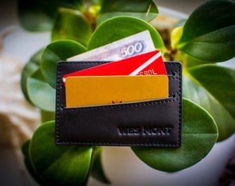Leather card holder WesMontWorkshop Wallet Minimalist cardholder  Front pocket wallet Credit card sleeve Business card  Free personalization