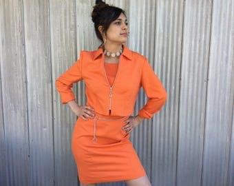 Orange Vintage dress and vest - Colored classic suit mia - Dress and short jacket 1990