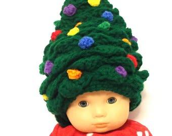 Christmas Tree Hat, Handmade, Crochet