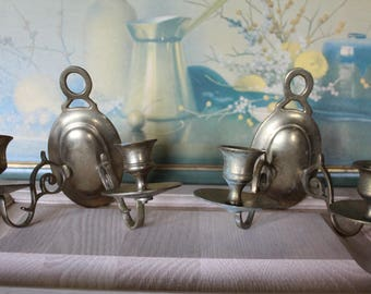 Vintage Brass Double Wall Sconce Pair Of Two, Brass Wall Sconces, Vintage Wall Sconces