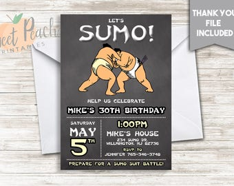 Sumo Suit Birthday Invite Invitation 5x7 Digital Personalized Japanese Sumo Wrestling Battle Chalkboard Any Age Gender Neutral  #232.0