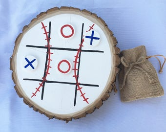 Baseball Tic Tac Toe Wood Stump