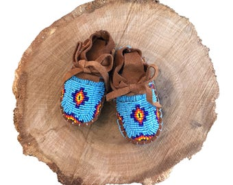 Baby Soft Sole Leather Shoes-Moccasins-Baby Shower Gift-Native American Art-Beaded Moccasins-Boy-Girl Moccasin-BLUE