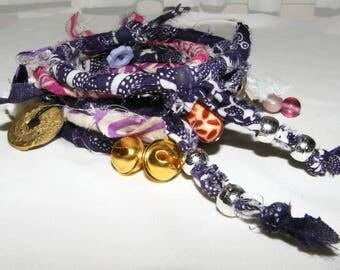 Bracelet Boho Style Boho Jewelry Bohemian Stack Bracelet Eco Friendly Gypsy Bangle Bracelet Purple Bracelets Upcycled Jewelry Gypsy Bangles