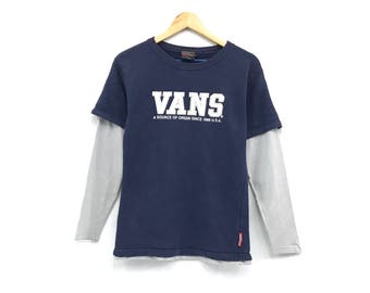 Vans crewneck long sleeve tee big print spell out shirts / skateboard wear / streetwear / small size