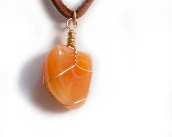 Gold Wire Wrapped Carnelian Stone and Whiskey Deerskin Leather