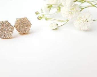 Hexagon Druzy Stud Earrings - Druzy Earrings - White Druzy - Champagne Druzy - Bohemian Jewelry - Gemstone Jewelry - Gemstone Earrings