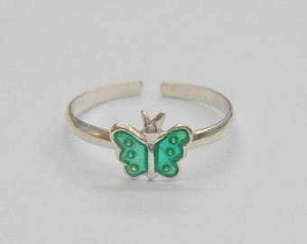 Toe Ring, Sterling Toe Ring, Butterfly Toe Ring, Silver Toe Ring, Enamel Toe Ring, Sterling Silver Enamel Green Butterfly Toe Ring #1135