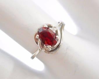 Garnet Ring, Gold Garnet Ring, Garnet And Diamond, Garnet Rings, Gold Garnet Rings, 14k White Gold Oval Garnet & Diamond Ring Sz 6 #1639