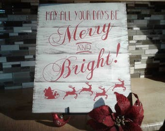 Merry Xmas Sign, Vintage Wooden sign, Christmas Decor, Holiday Sign, Christmas Gift, Holiday Decor, Christmas Sign, Rustic Christmas