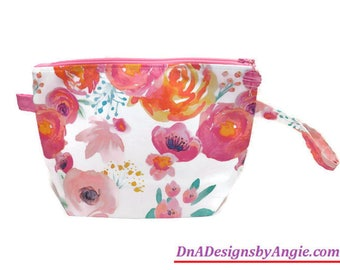 Medium Handled Wedge Project Bag in Watercolor Floral, SSYC Kit